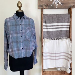 Free People Plaid Cotton High Low Crop Top Blue